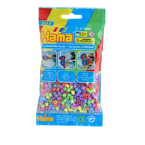 Bolsa de Hama midi mix de colores pastel de 1000 piezas Nº 207-50
