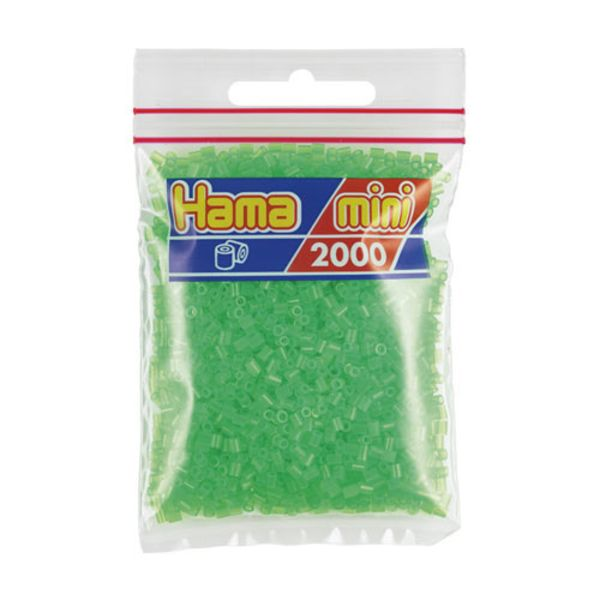Bolsa de Hama Mini verde neón de 2000 piezas Nº 501-37