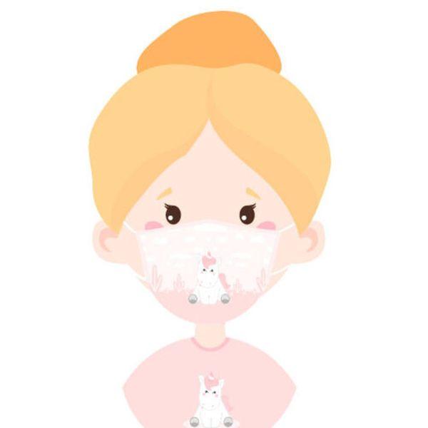 Mascarilla Infantil con Filtro de Carbón Unicornio