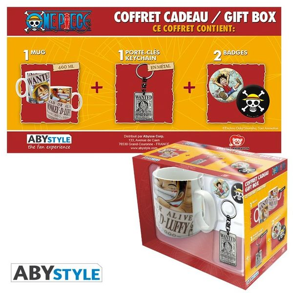Luffy Wanted Mug, Keychain and Badges One Piece