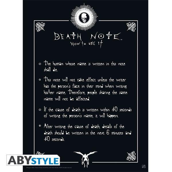 Poster Death Note Reglas 52 x 38 cms