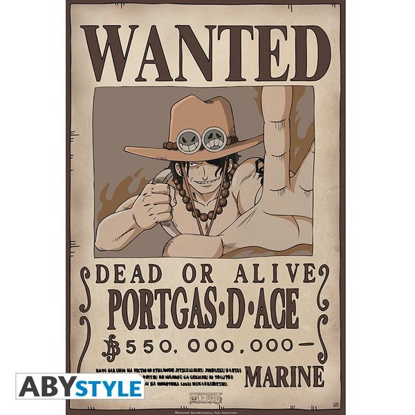 Poster Portgas D Ace Wanted One Piece 52 x 35 cms