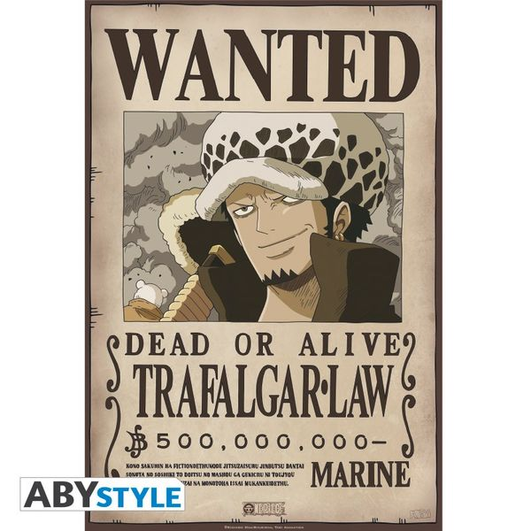 Poster Trafalgar Law Wanted One Piece 52 x 35 cms