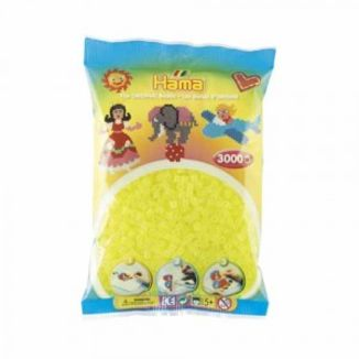 Bolsa de Hama midi amarillo neón de 3000 piezas