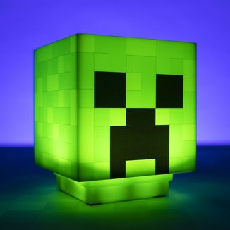Lampara 3D Creeper Cabeza Minecraft