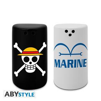 Skull & Marine Salt & Pepper Shakers One Piece