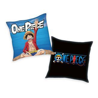Cojín Monkey D. Luffy y Logotipo One Piece 40 x 40 cms