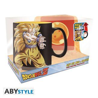 Taza Térmica con posavasos Goku SSJ3 Dragon Ball Z 460 ml