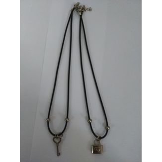 Double Padlock and Heart Key Necklace