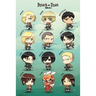 Chibi Characters Poster Attack On Titan 61 x 91 cm