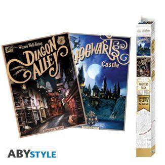 Poster Callejón Diagon y Castillo Hogwarts set Harry Potter 52 x 38 cms