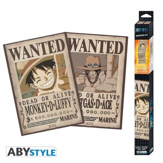 Poster Luffy & Ace Wanted One Piece Set 52 x 35 cms