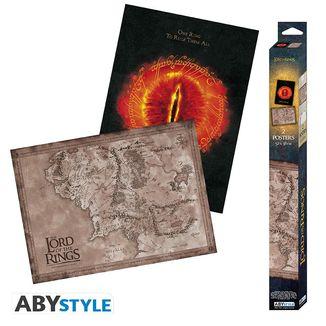 Poster Mapa de la Tierra Media y Ojo de Sauron set El Señor de los Anillos 52 x 38 cms