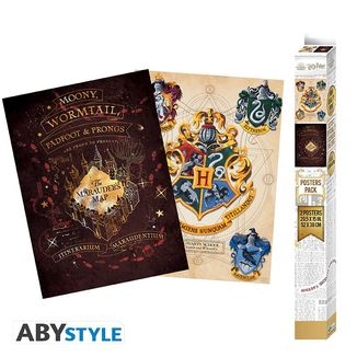 Poster Merodeadores y Escudo Hogwarts set Harry Potter 52 x 38 cms